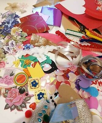 100+ Piece Craft Clearout Mixed Bundle For Card Making, Scrap Booking, Sewing • 5£