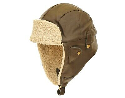 Men's Outdoor Faux Leather Brown Aviator Biggles Flying Wool Trapper Hat • 12.99£
