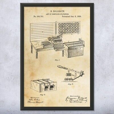$59.95 • Buy Framed Hollerith Statistics Computer Print Engineer Gifts Retro Technology