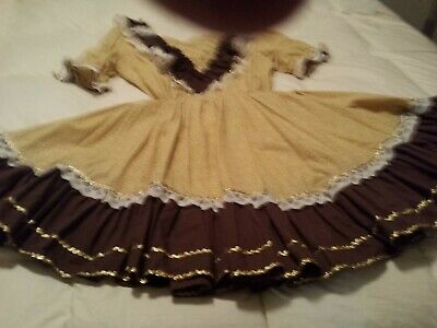 $15 • Buy 2 Piece Square Dance Outfit.  Lellow Trimmed In Gold And Brown  With Lace Sze16