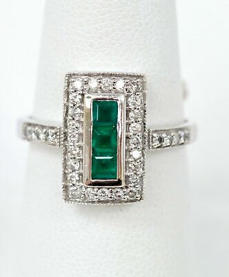 $839.40 • Buy 14K White Gold Princess Cut 0.45cttw Emerald & 0.33cttw Round Diamond Ring