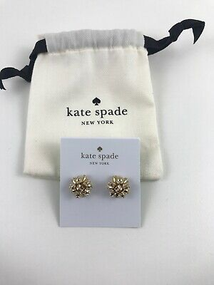 $ CDN53.63 • Buy NWT Kate Spade Bourgeois Bow Gold Time Pave Studs Crystal Earrings With Pouch