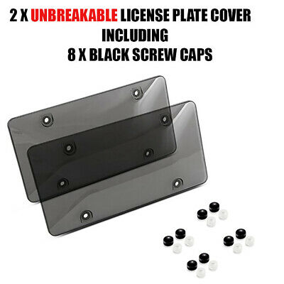 $8.75 • Buy 2x Smoked Clear License Plate Cover Frame Shield Tinted Bubbled Flat Car