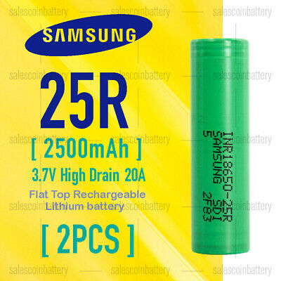 AU19.25 • Buy 2x Samsung1865 25R 2500mAh 3.7v High Drain 20A Rechargeable Li-ion Batteries