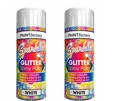 2 X Glitter White Spray Paint Sparkling Finish Creative Craft Art 200ml • 5.99£