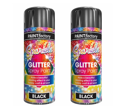 2 Sparkling Glitter Black Spray Paint Hobby Decorative Creative Art Craft 200ml  • 5.99£