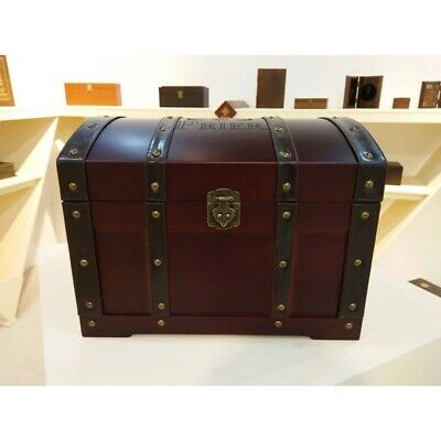 Vintage Large Colonial Wooden Box Treasure Storage Chest Easter Wooden Trunk • 59.99£