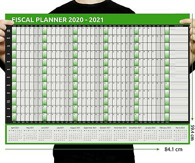 2020  A1 A2 Size's Tax Year Wall Planner Calendar Home Office Work April - March • 2.50£