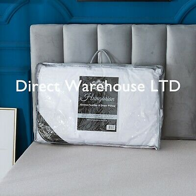 Hungarian Goose Feather & Down 50/50 Premium Quality Pillows 100% Cotton Cover • 25.99£