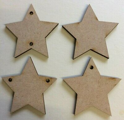 MDF Stars Shapes Wooden Craft Blank Embellishments With Hanging Hole Options • 2.85£