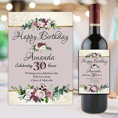£3 • Buy Personalised Happy Birthday Wine Champagne Bottle Sticker Label N178 Any Age