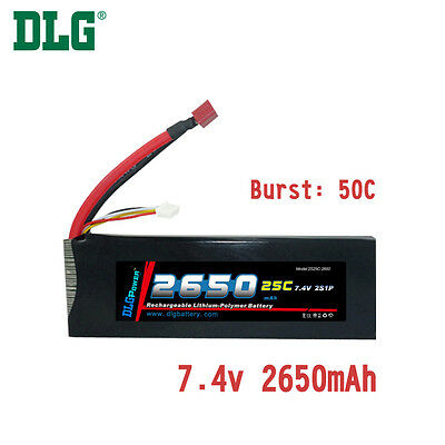 $ CDN31.99 • Buy Genuine DLG RC Battery 7.4V 2S 25C 2650mAh Burst 50C Li-Po LiPo Dean's T Plug