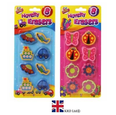 8 X NOVELTY ERASERS PACK Kids Rubbers Toy Party Bag Birthday Gift TA4174 UK • 2.60£