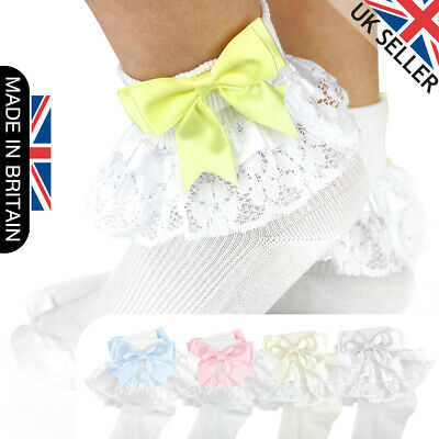 Girls Baby Spanish Bow Socks Double Ribbon Bow Frilly Lace Ankle Socks New Kids • 6.50£