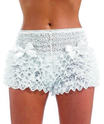 Womens White Ruffle Pants Adult Burlesque Frilly Shorts For Fancy Dress Costume • 14.95£