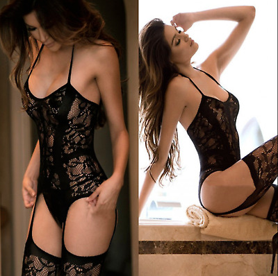 Erotic Body Lace Bodystocking Lingerie Dress Sexy Bodysuit Babydoll Mesh Catsuit • 11.99£