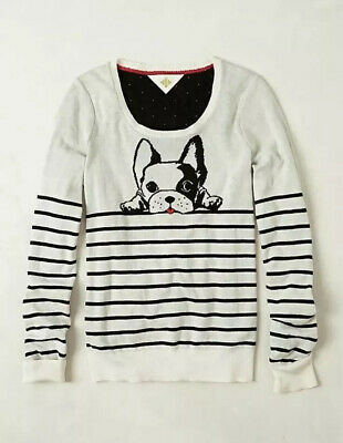 $ CDN63.63 • Buy Anthropologie HWR Medium White Black Striped Dog French Bulldog Knit Sweater Top