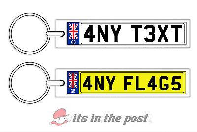 £3.25 • Buy Personalised Gb Number Plate Keyring Ideal Gift - House Car  Any Flag/text