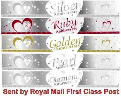 Silver 25 Pearl 30 Ruby 40 Golden 50 Wedding Anniversary 9ft Banners Party • 2.69£