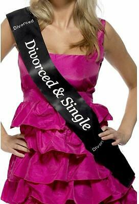 Smiffys Divorced & Single Black Diamante Hen Night Party Sash Novelty Funny Gift • 4.99£