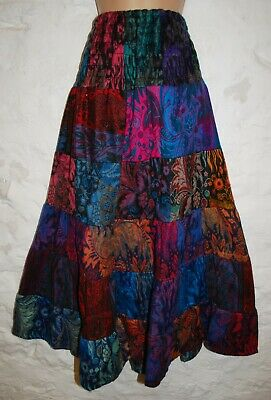 New Patchwork Skirt 8 10 12 14 16 18 Ethical Hippie Boho Gypsy Ethnic Acrylic • 26.99£