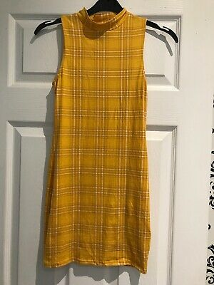 New Look Girls Generation 915 Bodycon Dress Age 9 Yellow Check • 3.50£