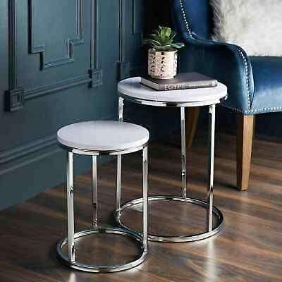 White High Gloss Nest Of 2 Round Tables With Shiny Chrome Legs Coffee Side Table • 58.99£