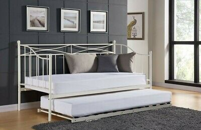 £74.99 • Buy Single White Grey Paris Metal Day Bed Trundle Guest Pull Out Bed With Mattress