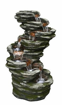 LED Lit 7 Fall Slate Cascading Garden Water Feature Fountain Ideal Outdoor Decor • 399£