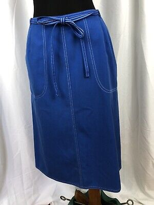 $ CDN22.54 • Buy Vintage 70s Koret Koratron Blue Wrap Skirt Made In USA Size 14 / Small To Medium