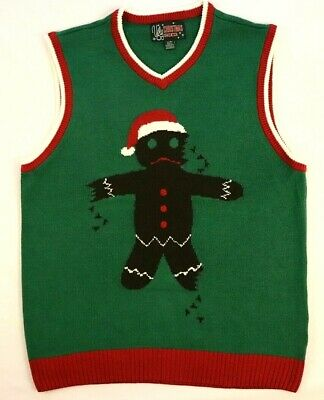 $25.99 • Buy Ginger Bread Man Ugly Christmas Sweater Vest L Large Green X-mas Holiday Party