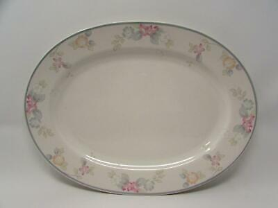 $12.99 • Buy Wyndham By Pfaltzgraff 14  Oval Serving Platter Pink & Gray Floral Gray Band P19