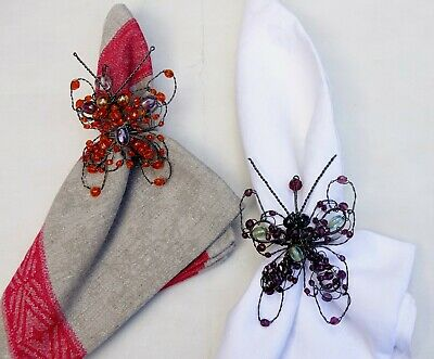 Napkin Rings / Holders Grey Metal  Butterfly X 2, One Orange And One Purple New • 7.95£