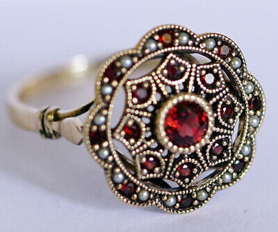 AU480.90 • Buy R289 Genuine 9ct, 10K, 18K Gold Natural Garnet & Pearl Cluster Ring In Your Size