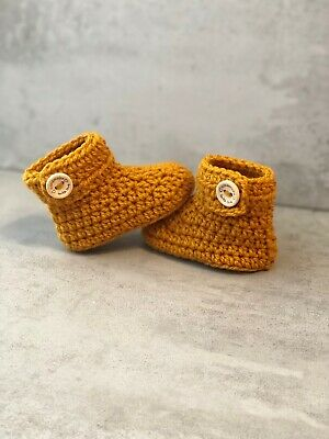 Crochet Knitted Baby Bootees Boots Booties 0 - 12 Months - Mustard • 6.95£