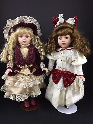 "$ CDN47.35 • Buy Dan Dee Collectors Choice Porcelain Doll Lot 2 Vintage 17"" Ltd Ed  Collectible"