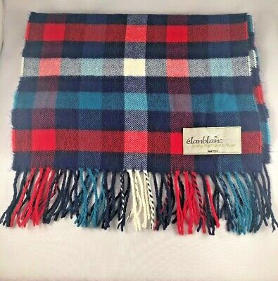$17.26 • Buy ELANBLANC Woven Cashmere Scarf Bright Plaid NEW NWOT Red Blue Teal White
