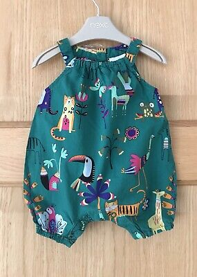 NEXT *0-3m  *BABY GIRLS Animal Print Playsuit Romper One Piece Outfit 0-3 MONTHS • 3.99£