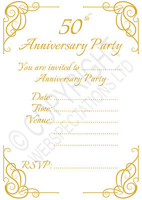 £2.99 • Buy Pack Of 50th Golden Wedding Anniversary Party Invitations Calligraphy Invites
