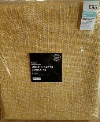 Next Blackout Yellow Boucle Blend Woven Lined Multi Header Curtains 53  X 54  • 50.99£