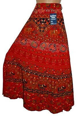 New Cotton Wrap Skirt 14 16 18 Hippy Ethnic India Hippie Floral Boho Indian • 19.99£