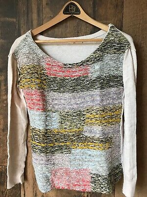 $ CDN15 • Buy Anthropologie Moth Sweater Size Small Cashmere Blend Art Yarn Design Multicolor