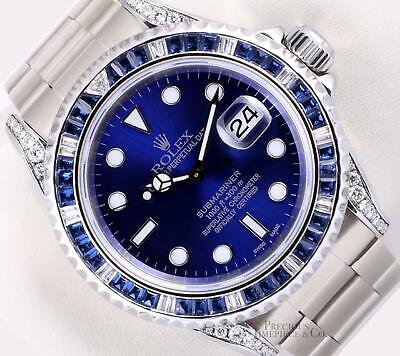 $ CDN18942.05 • Buy Rolex Submariner 16610 Date Steel 40mm-Blue Diamond Sapphire Bezel-Diamond Lugs