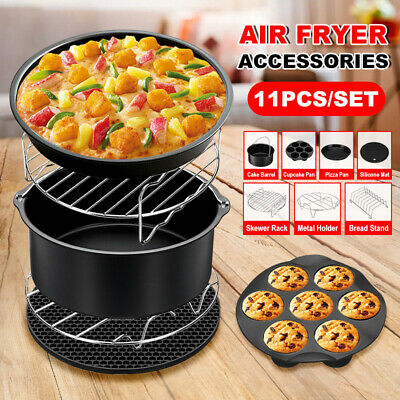 AU24.45 • Buy 8  Air Fryer 11PCS Accessories Frying Cage Dish Baking Pan Rack Pizza Tray Pot
