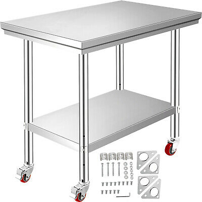 Rolling Stainless Steel Top Kitchen Work Table Cart + Casters Shelving 30 X24  • 90.11£