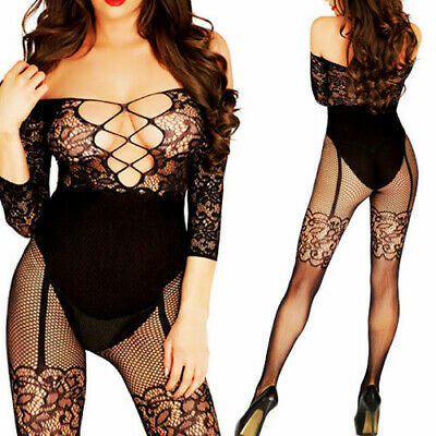 $8.47 • Buy Sexy-Lingerie-Bodystockings-Women-Sleepwear-Lace-Babydoll-Stockings-US-Nightwear