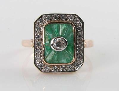 Large 9k 9ct Rose Gold Colombian Emerald Diamond Art Deco Ins Ring Free Resize • 499£