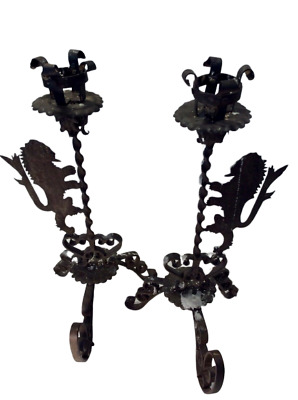 SPANISH COLONIAL REVIVAL CANDLE HOLDERS Wrought Iron With Lions, PAIR,1920's • 375.17£