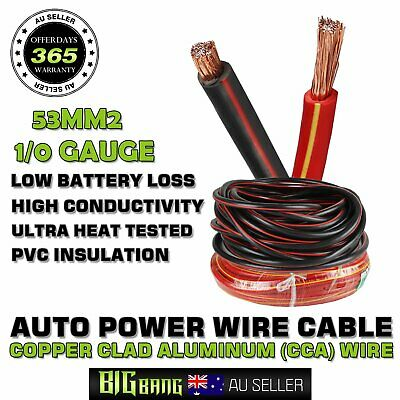 AU52.99 • Buy Super Duty 53mm 1/0Gauge Primary Wire Flame Retardant Sheathing Power AMP Cables