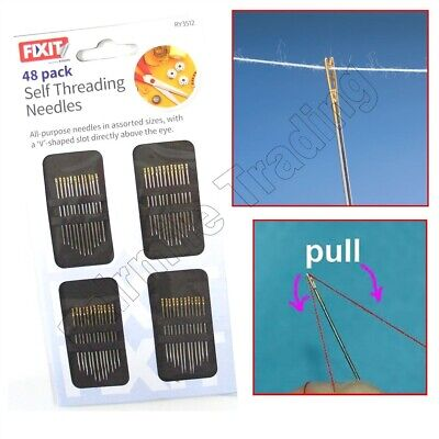 48 Self Threading Hand Sewing Needles Assorted Sizes Easy Thread Craft • 2.39£
